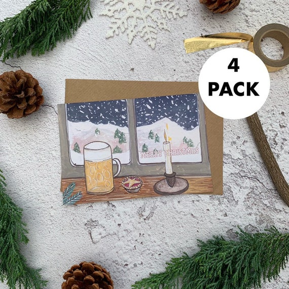 Beer & Mince Pie Christmas Card Set - Pack of 4 | Christmas Cards Pack