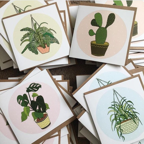 Set of 8 Potted Plant Notecards | Cactus, Fern, Monstera, Spider Plant