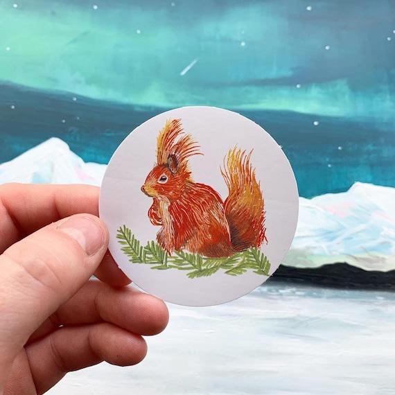 Norweigan Red Squirrel Paper Sticker