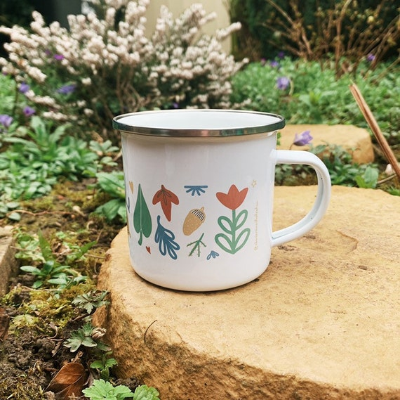 Floral Woodland Enamel Camping Mug 10oz