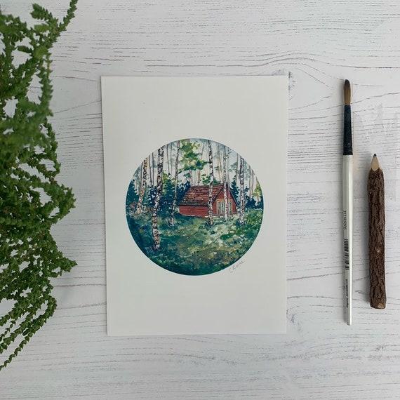 Scottish Highlands Cabin A5 Print