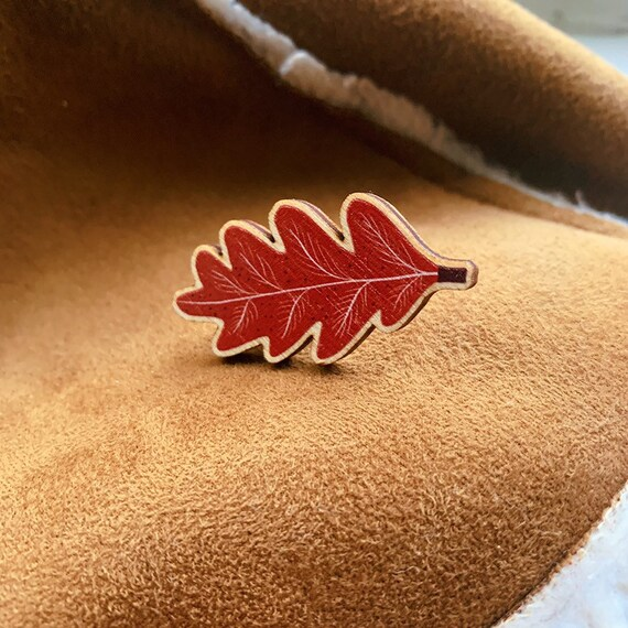 Autumn Leaf Wooden Pin Brooch