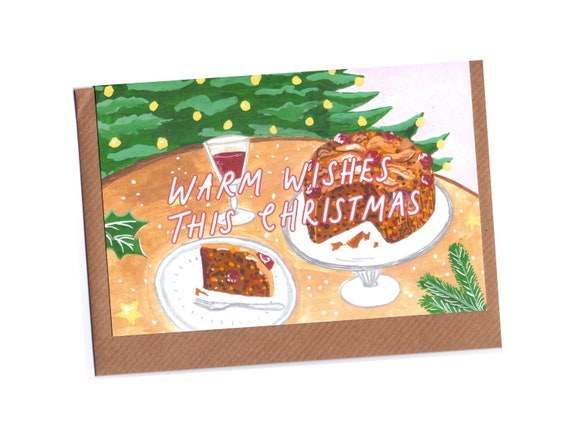 Recycled Christmas Cake Card Set - Pack of 4 | Christmas Cards Pack
