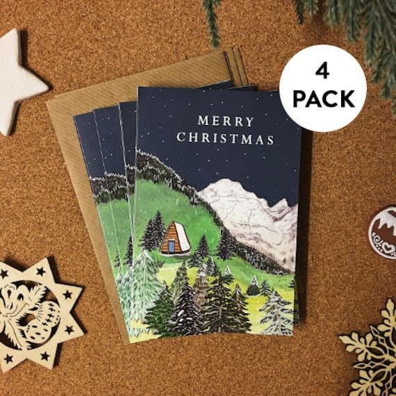 Alpine Christmas Card Set - Pack of 4 | Christmas Cards Pack