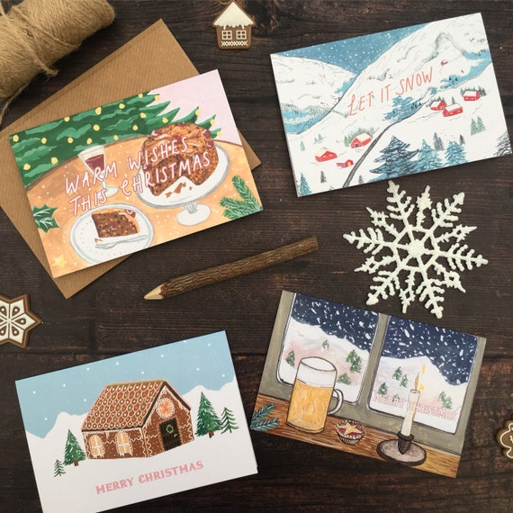 Illustrated Christmas Cards Pack | Pack of 4, Pack of 8, Pack of 12 | Christmas Cards Set