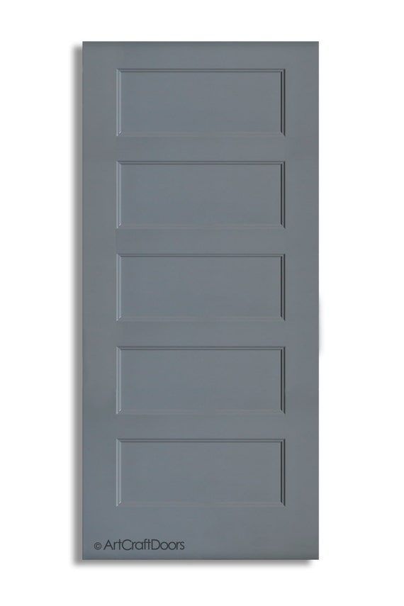 High Gloss Lacquer Five Panel Modern Sliding Barn Door In Grey Etsy