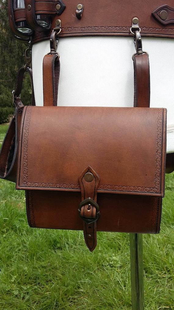 kit leather alchemist's belt potion bandolier thief's belt bag and holster, larp cosplay belt dungeon kit theater belt
