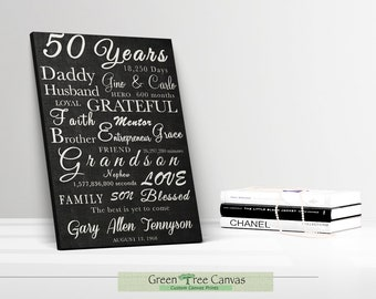 Personalized 50th Birthday Gift For Women Custom Canvas 60th Decoration Men Anniversary Gifts Husband Unique