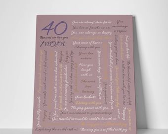Custom 40th Birthday Gift For MOM 40 Reasons Why I Love You Mom Favorite Things Memories We Daddy Gifts
