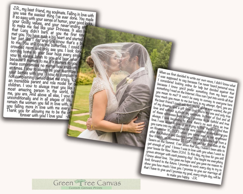 Mr and Mrs Set of 3 same size Custom Canvas Print Anniversary Gift Vows Set of 3 Wedding Vows Canvas Print Art His and Hers