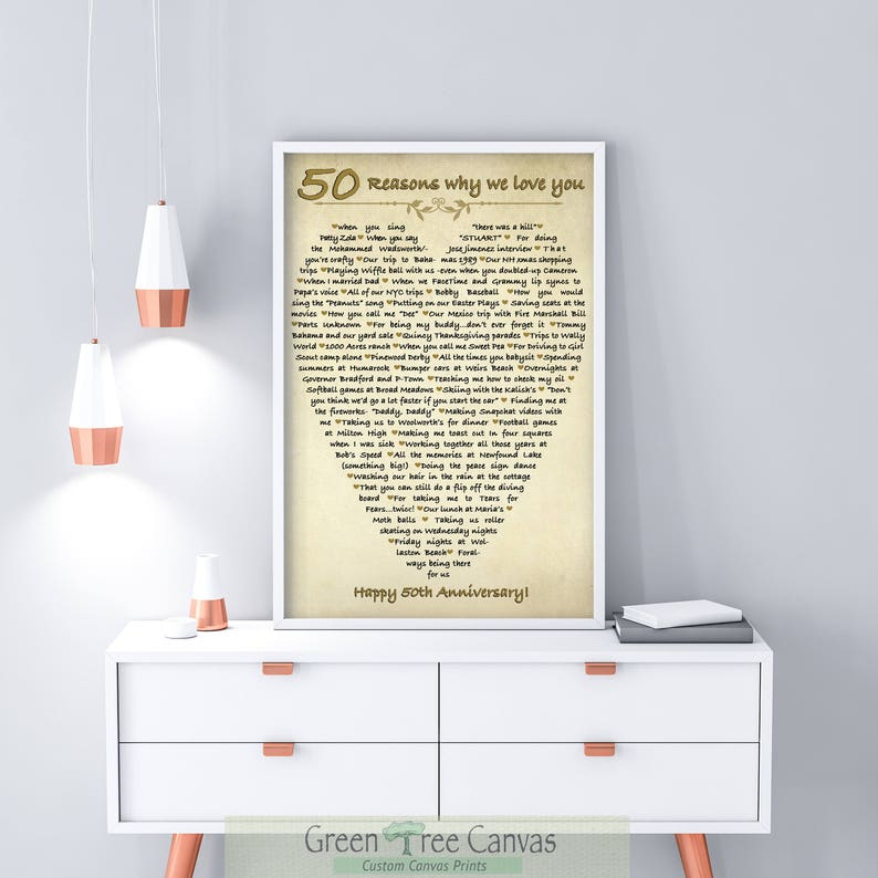 50 Reasons Why We Love You Gifts For Mom 50th Birthday