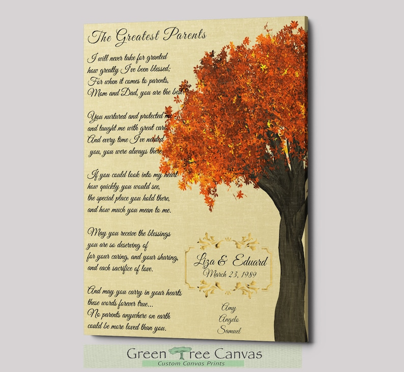 Custom Poem Print, Gift for Parents, Gift for Parents from Daughter, Custom  Poem on Canvas, Gifts for 50th birthday women