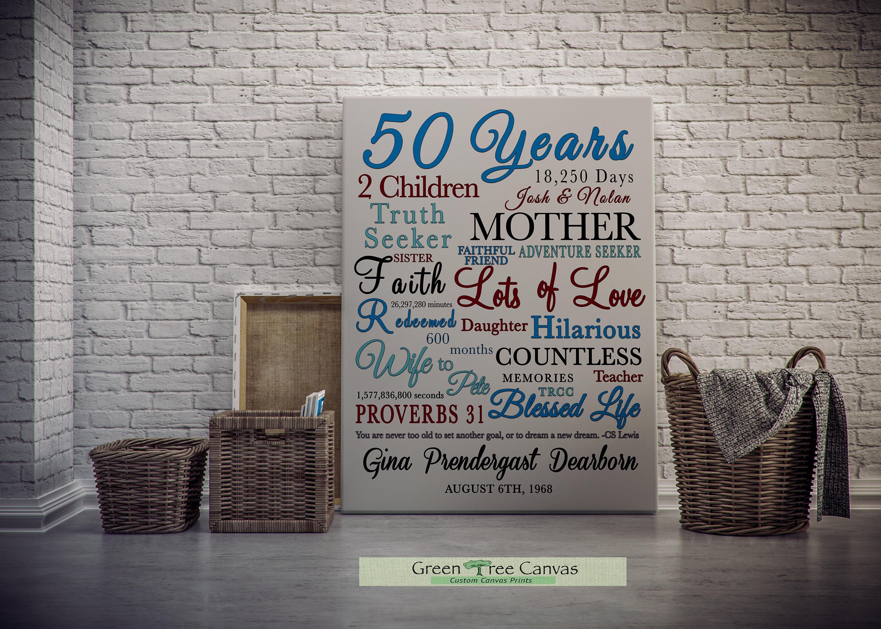 Personalized 50th Birthday Gift For Women Custom Canvas