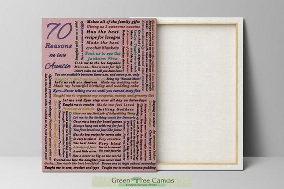 Custom 70th Birthday Gift For MOM 70 Reasons Why I Love You