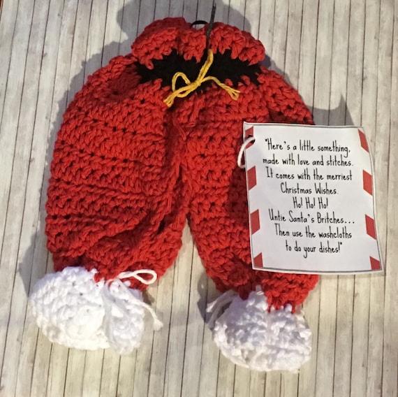 Christmas Dishcloths Santa Pants Lil Britches Crochet Etsy