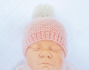 bonnet en laine rose clair pompon beige - bonnet bébé fille f6423f9b225