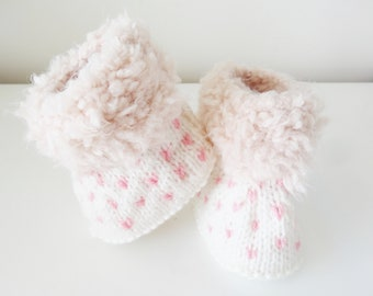 Baby Pink and white wool boots - boots for baby