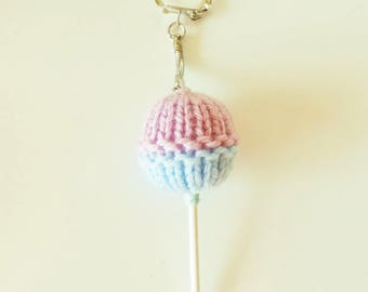 Keychain - Bag shaped pink and blue - candy lollipop.