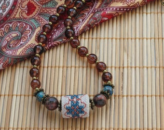 Chunky necklace choker bead embroidered jewelry for her boho chic brown embroidered necklace casual necklace glass necklace everyday jewelry