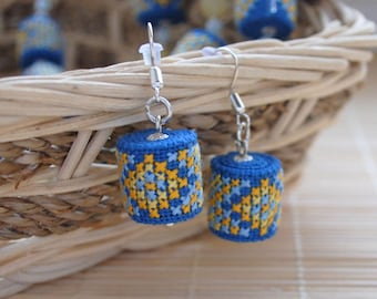 Blue dangle earrings bright earrings summer ethnic jewelry for daughter cross stitch fabric earrings embroidered jewelry gift for girlfriend