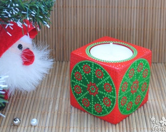 Christmas candle holder Wood candlestick Bright table decor hand painted point Cute Xmas gift for girlfriend Wooden home decor Gift friends