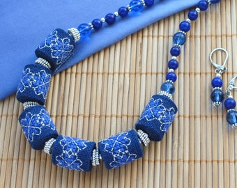 Bead embroidered necklace Statement jewelry for women Sapphire necklace earrings set jewelry Statement necklace Gift for wife Bead necklace