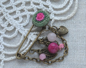 Rose brooch pin Flower jewelry for women Embroidery jewelry Pink flower brooch for mom feminine jewelry charm brooch jade jewelry Flower pin