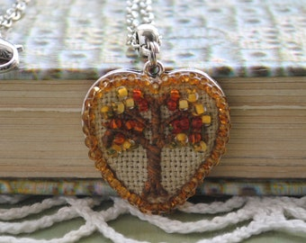 Tree of life pendant Embroidery autumn necklace Rococo jewelry Womens gift Beaded tree pendant Nature art Embroidered heart pendant Gift mom