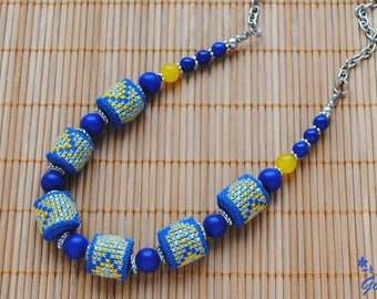 Blue necklace Bead embroidered jewelry Lapis lazuli necklace Boho jewelry for women Fabric necklace Embroidered bead necklace gift for wife