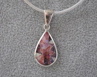 Lilac flower Silver drop pendant Floral cloisonne enamel pendant Tender Nature art jewelry Small Teardrop pendant femme Hot enameled jewelry