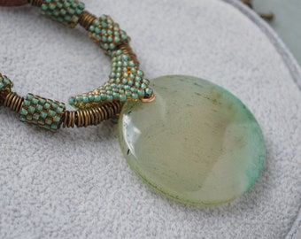 Light green agate pendant necklace Large stone beaded necklace Statement bead bale pendant Seed bead tube necklace Bohemian Gemstone jewelry