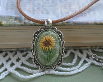 Sunflower necklace pendant Nature embroidery pendant Rococo jewelry Gift women Oval floral pendant Mother day gift mom Embroidered necklace