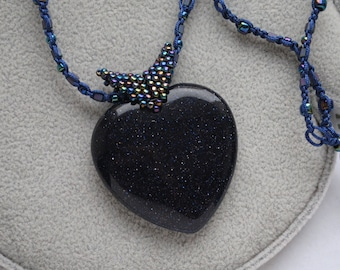 Blue sand heart pendant Beaded Goldstone necklace Navy statement jewelry, Love pendant Xmas gift Valentines gift Seed bead macrame necklace