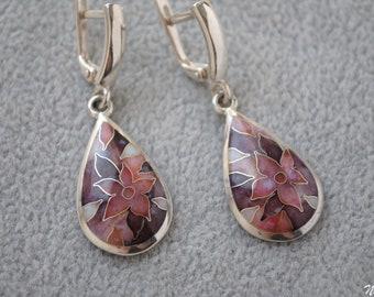 Lilac flower Silver drop earrings Floral cloisonne enamel earrings Tender dangle earrings Hot enameled Nature art jewelry Teardrop earrings