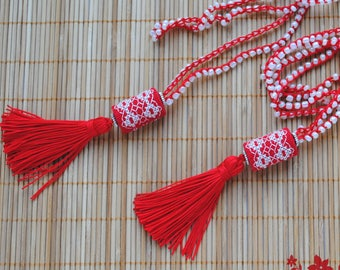 Long necklace tassel jewelry red white embroidered necklace Bohemian cord jewelry Crochet beaded necklace Red tassel necklace gift for women