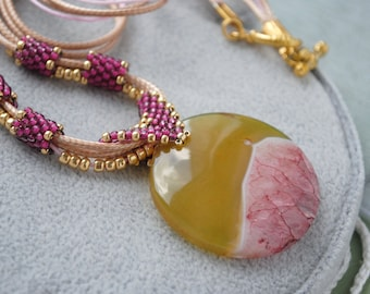 Circle agate pendant necklace Large stone beaded necklace Statement yellow pink pendant Seed bead tube necklace Bohemian Gemstone jewelry