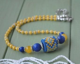 Ethnic Choker Necklace Bead Embroidered jewelry gift for women Ukrainian jewelry, Lapis lazuli necklace gemstone agate jewelry Gift for her
