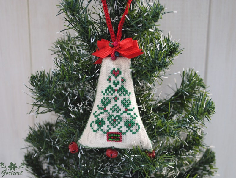 Hand Made Crochet Knitted White Bell Hang on Christmas Tree Decoration Set Of 4