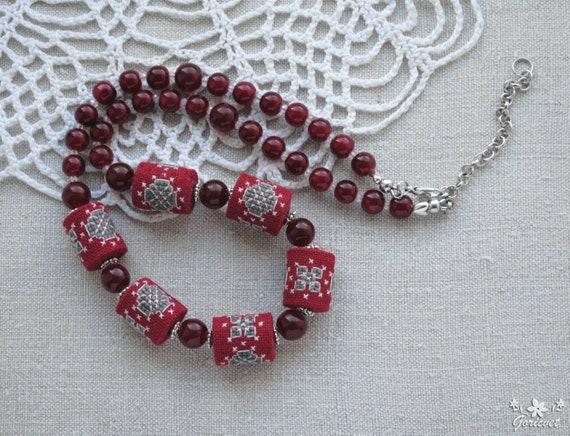 Beaded crochet necklace Burgundy wedding Bead crochet rope Statement Necklace Red necklace Burgundy Christmas Gift-for-Women Girlfriend-Gift