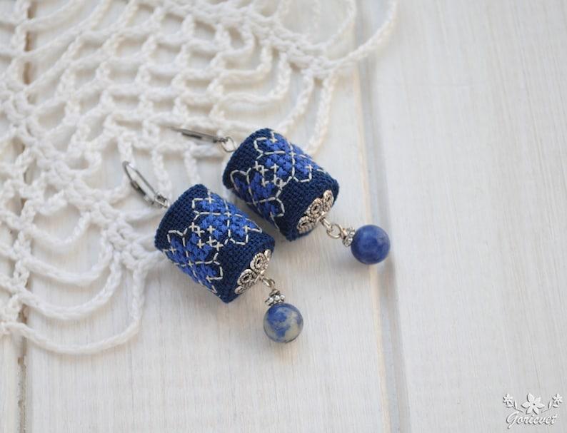 Royal blue earrings embroidery Bohemian dangle earrings Sodalite gemstone earrings Unusual drop earring Gift women Navy blue fabric earrings