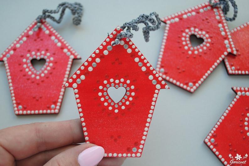 Birdhouse ornament Wood dot painted decor Christmas hanging ornament Dotted decoration Easter bauble ornaments handmade Housewarming gift