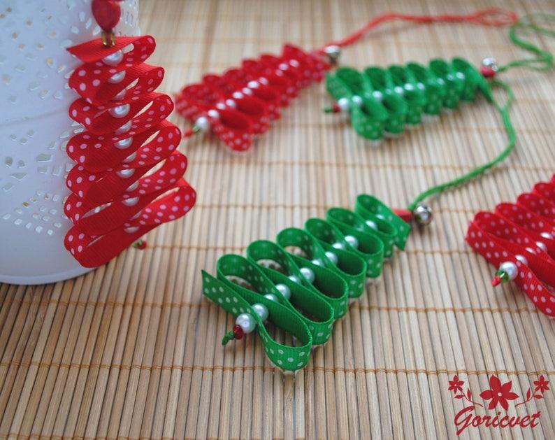 Christmas tree ornaments ribbon tree Decoration Polka dots image 1