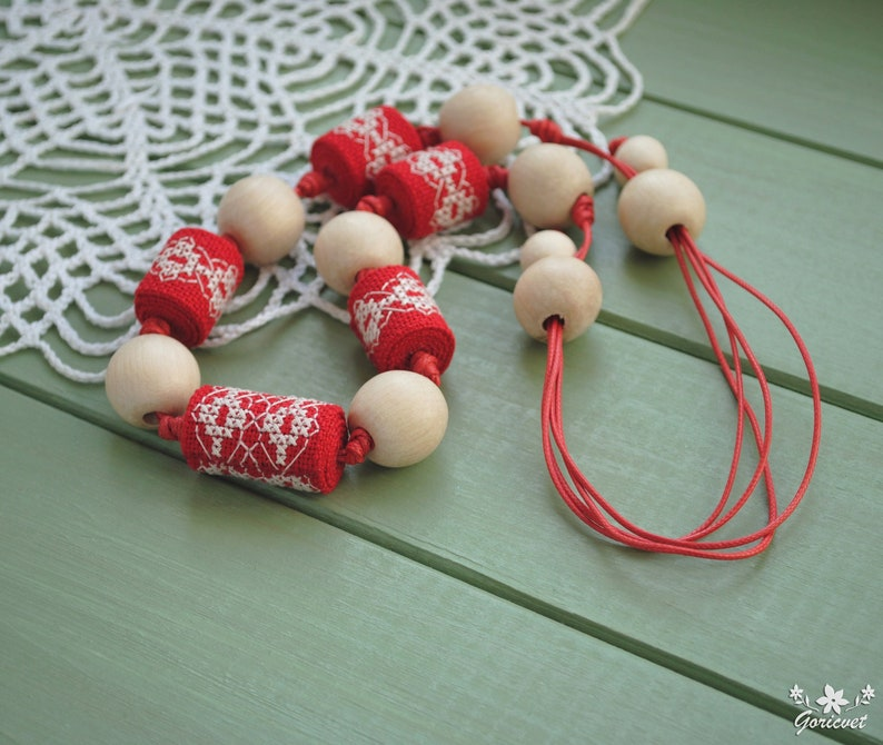 Fabric bead necklace embroidery Eco friendly beads Wood image 0