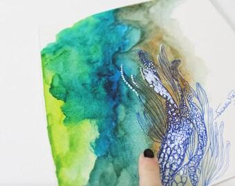 watercolor, underwater painting, underwater sea, blue watercolor, watercolor artwork, floral watercolor painting, acrylic paintings
