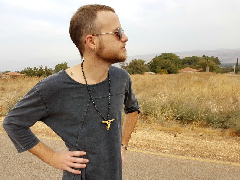 Man/'s Bead Necklace Yoga Mala Ox Pendant Men/'s Long Necklace Healing Mala Men/'s Mala Men/'s Boho Necklace Mala Jewelry Lava Necklace