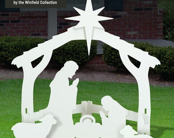 white outdoor nativity scene - Outdoor Christmas Decorations Nativity Scene