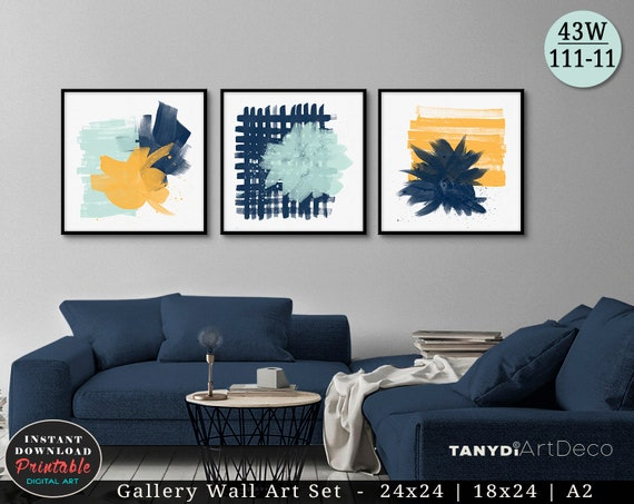 Set Of 3 Abstract Watercolor Paintings Mint Navy Blue Etsy
