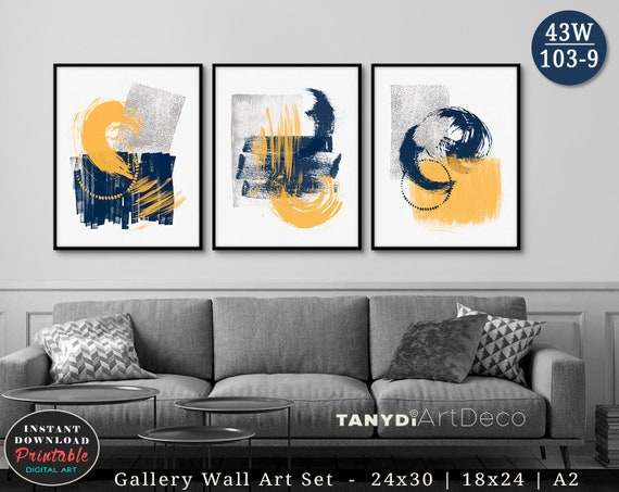 Set Of 3 Abstract Watercolor Paintings Brush Strokes Trendy Etsy