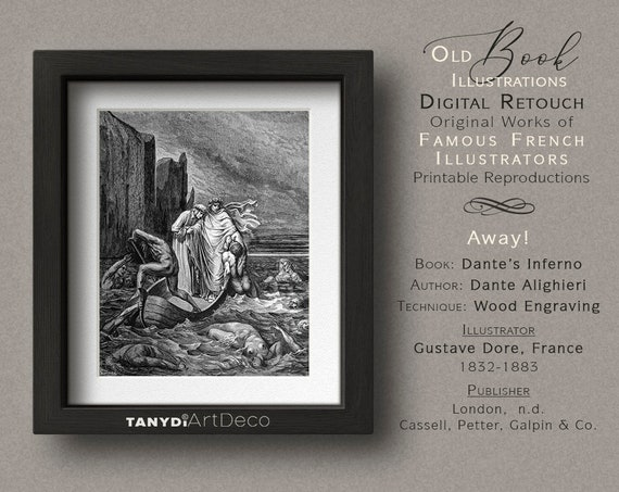 Dante S Inferno Three Men In A Rowboat Dark Waters Cliffs Printable Reproduction Antiquity 1860s