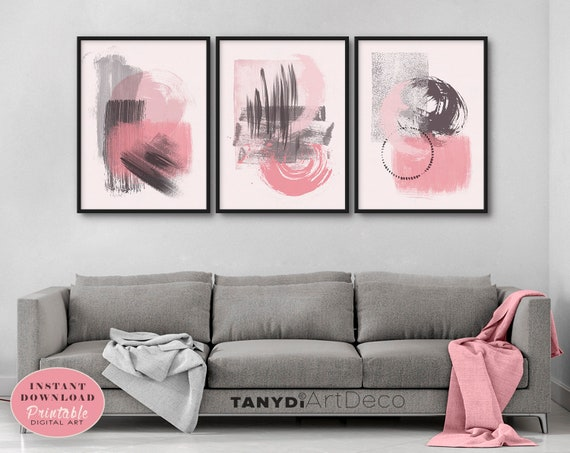 Abstract Watercolor Painting In Pink Black Gray Set Of 3 Watercolor Brush Strokes Posters Nirvana Dining Living Bedroom Wall Art Set